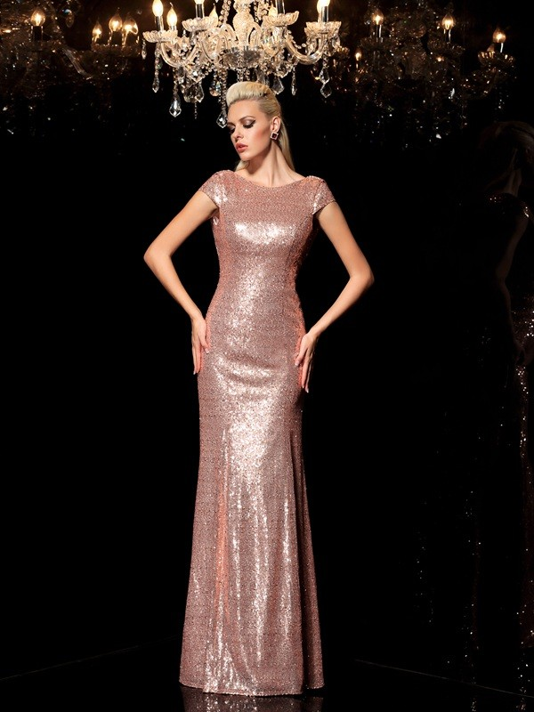 Sheath/Column Scoop Sequin Long Sequins Dress