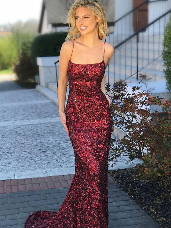 Trumpet/Mermaid Sleeveless Spaghetti Straps Sweep/Brush Train Sequins Dress