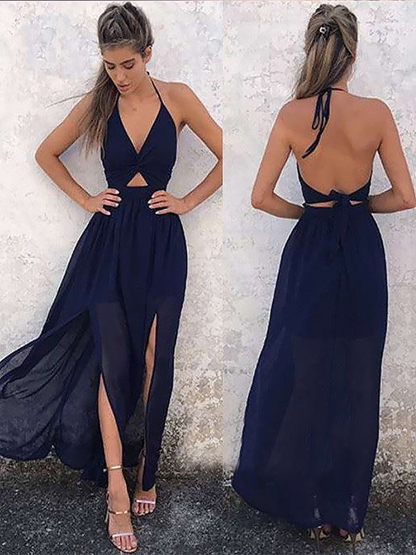 A-Line V-neck Floor-Length With Ruched Chiffon Dress