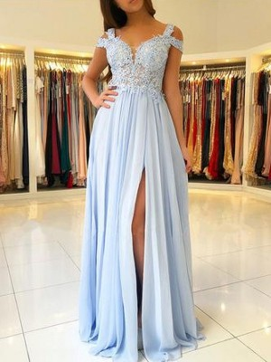 A-Line/Princess Sleeveless Off-the-Shoulder Long Chiffon Dress