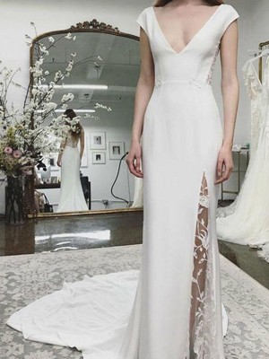 Sheath/Column Satin Lace V-neck Sleeveless Court Train Wedding Dress