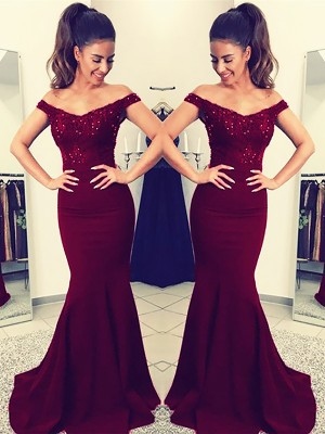 Trumpet/Mermaid Off-the-Shoulder Sweep/Brush Train Elastic Woven Satin Dress with Lace