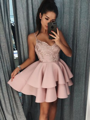 A-Line/Princess Spaghetti Straps Satin Short/Mini Dress