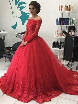 Ball Gown Off-the-Shoulder Long Sleeves Lace Tulle Court Train Dress