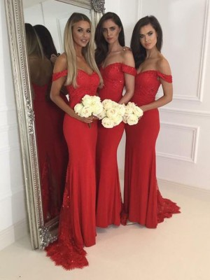 Trumpet/Mermaid Off-the-Shoulder Jersey Sweep/Brush Train Bridesmaid Dress