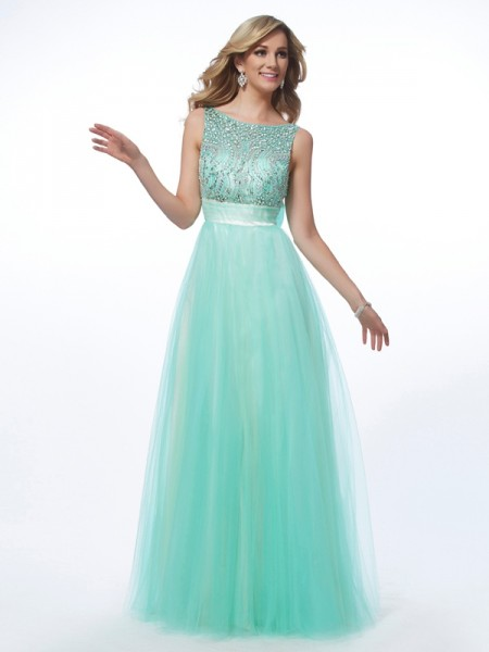 A-Line/Princess Bateau Beading Dress with Net