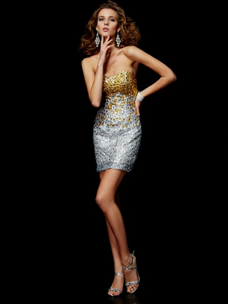 Sheath/Column Sweetheart Beading Homecoming Dress with Lace