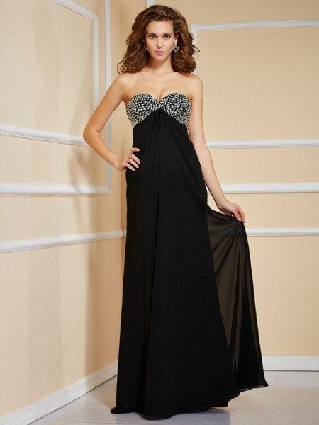 Sheath/Column Sweetheart Ruffles Beading Dress with Long Chiffon