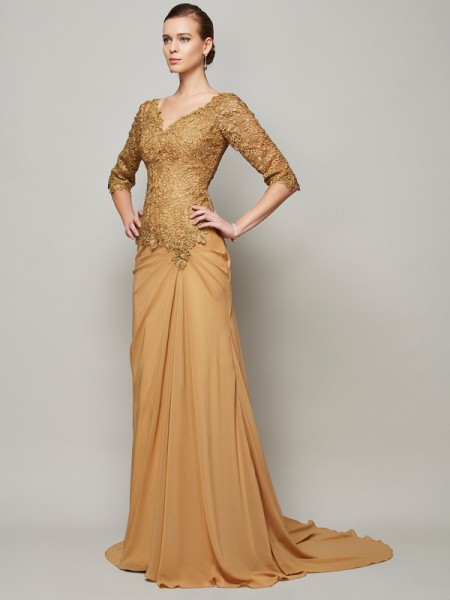 Sheath/Column V-neck 1/2 Sleeves Lace Dress with Long Chiffon