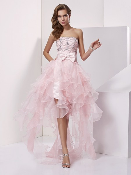 A-Line/Princess Strapless Beading High Low Organza Homecoming Dress
