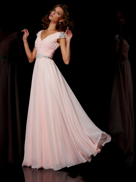 A-Line/Princess V-neck Short Sleeves Ruffles Dress with Long Chiffon