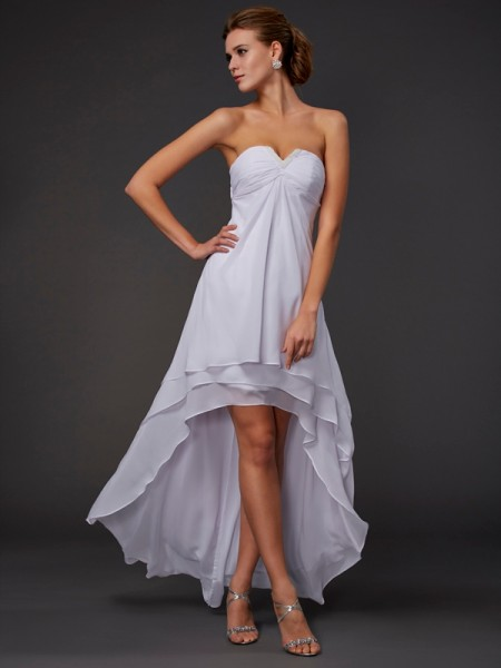 A-Line/Princess Sweetheart Ruffles High Low Chiffon Dress