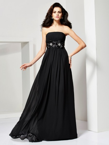 A-Line/Princess Strapless Dress with Long Chiffon
