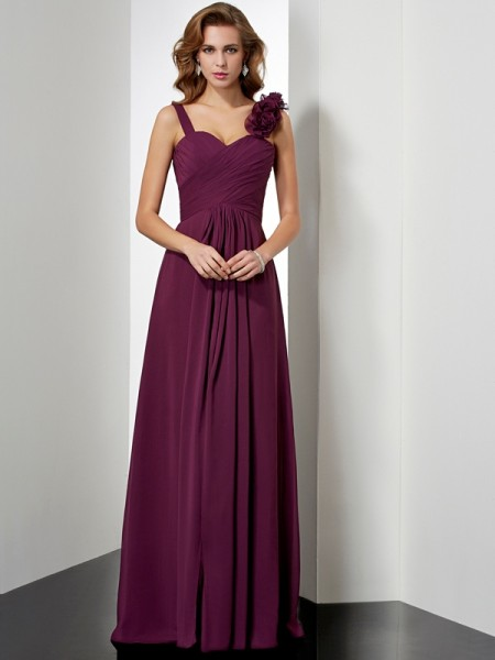 A-Line/Princess Straps Dress with Long Chiffon