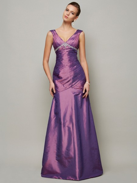 Sheath/Column V-neck Beading Long Taffeta Dress