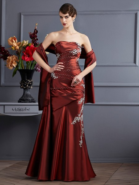Sheath/Column Strapless Beading Long Taffeta Dress