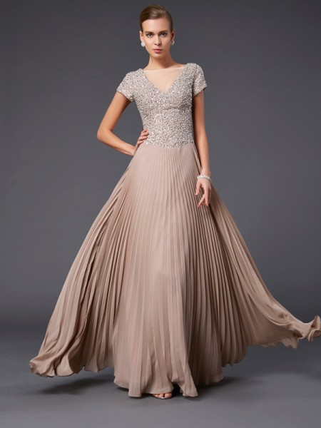 A-Line/Princess V-neck Short Sleeves Beading Mother of the Bride Dress with Long Chiffon