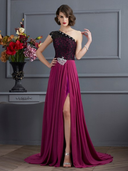 A-Line/Princess One-Shoulder Lace Dress with Long Chiffon