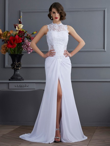 Sheath/Column High Neck Dress with Long Chiffon