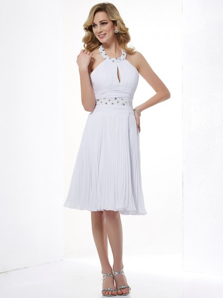 A-Line/Princess Halter Beading Short Chiffon Bridesmaid Dress