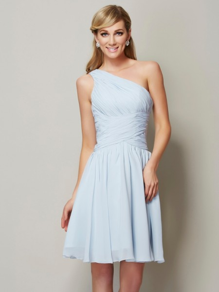 A-Line/Princess One-Shoulder Ruched Short Chiffon Bridesmaid Dress