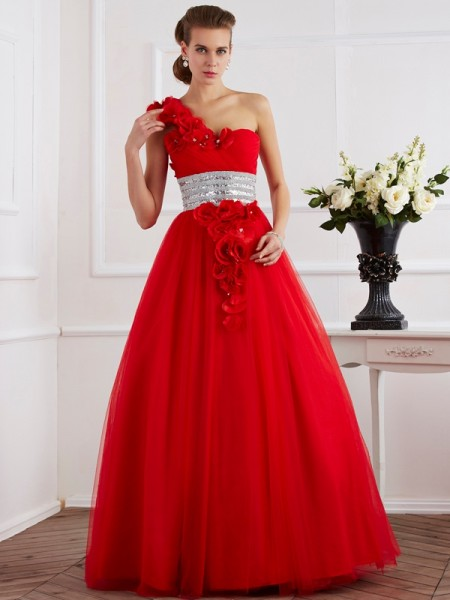 Ball Gown One-Shoulder Long Net Quinceanera Dress