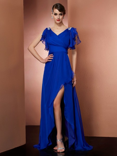 A-Line/Princess V-neck Beading High Low Chiffon Dress