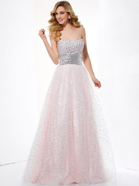 Ball Gown Sweetheart Long Net Dress