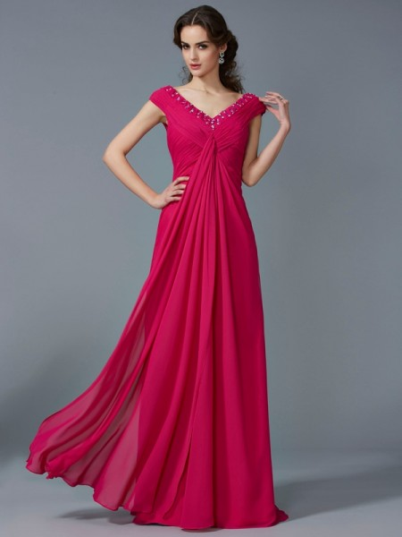 A-Line/Princess Beading V-neck Short Sleeves Dress with Long Chiffon