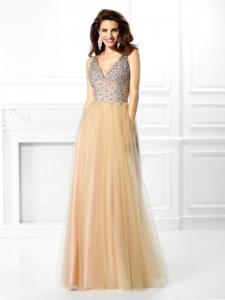 Ball Gown V-neck Beading Long Satin Quinceanera Dress