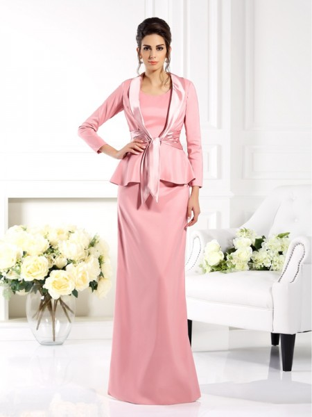 Sheath/Column Square Long Elastic Woven Satin Mother of the Bride Dress