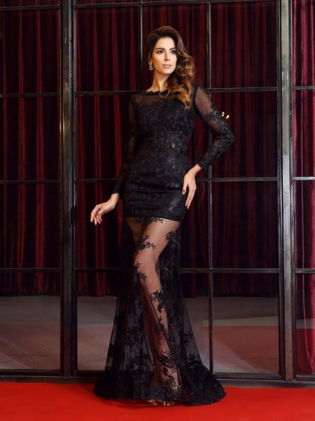 Trumpet/Mermaid Bateau Applique Long Sleeves Long Lace Dress