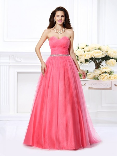 Ball Gown Sweetheart Pleats Long Satin Quinceanera Dress