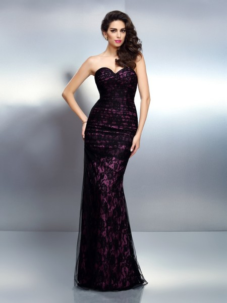 Trumpet/Mermaid Sweetheart Lace Long Elastic Woven Satin Dress