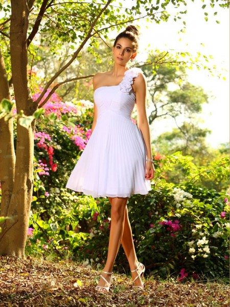 A-Line/Princess One-Shoulder Short Chiffon Bridesmaid Dress