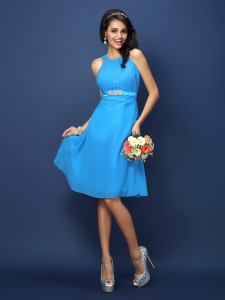 A-Line/Princess Bateau Sash/Ribbon/Belt Short Chiffon Bridesmaid Dress