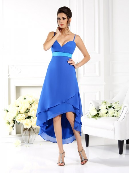 A-Line/Princess Spaghetti Straps Ruffles High Low Chiffon Bridesmaid Dress