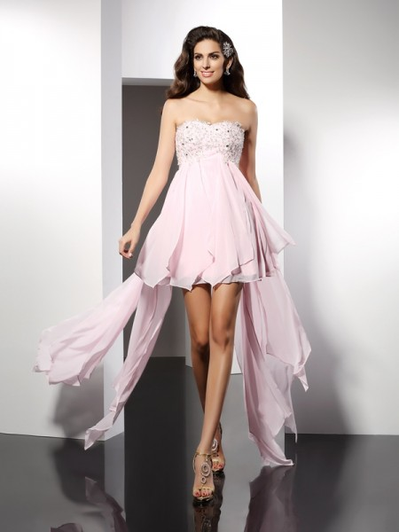 A-Line/Princess Sweetheart Applique High Low Chiffon Cocktail Dress