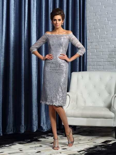 Sheath/Column Lace 1/2 Sleeves Short Satin Mother of the Bride Dress