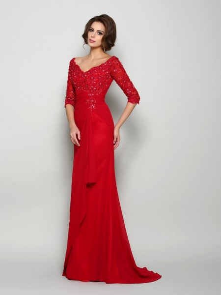 A-Line/Princess V-neck Beading 1/2 Sleeves Applique Mother of the Bride Dress with Long Chiffon