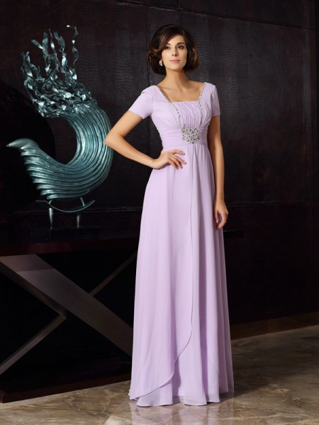 A-Line/Princess Square Beading Mother of the Bride Dress with Long Chiffon