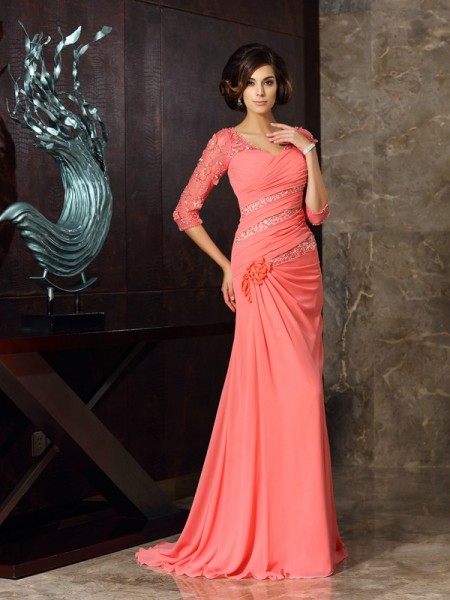 Trumpet/Mermaid Sweetheart 1/2 Sleeves Mother of the Bride Dress with Long Chiffon