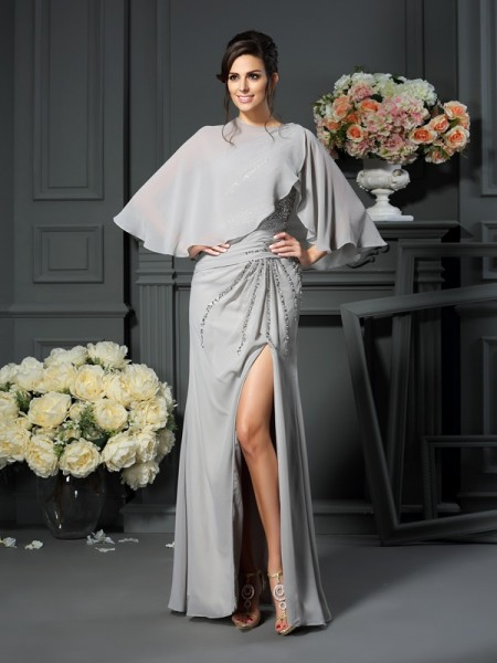 Trumpet/Mermaid One-Shoulder Beading Mother of the Bride Dress with Long Chiffon
