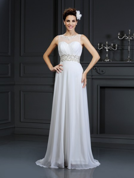 A-Line/Princess Bateau Ruffles Wedding Dress with Long Chiffon