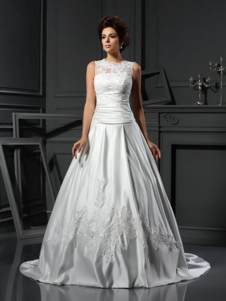 A-Line/Princess High Neck Applique Long Satin Wedding Dress