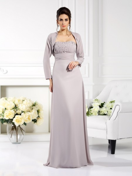A-Line/Princess Strapless Beading Mother of the Bride Dress with Long Chiffon