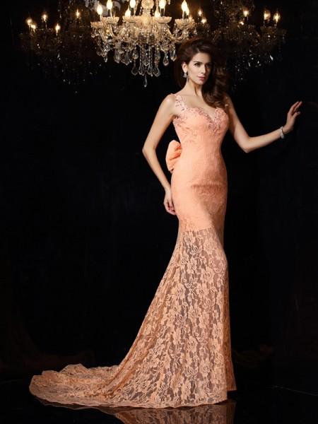 Sheath/Column Straps Lace Long Satin Dress