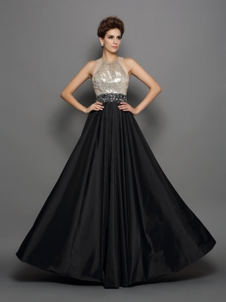 A-Line/Princess High Neck Sequin Long Taffeta Dress