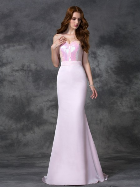 Trumpet/Mermaid Sweetheart Beading Long Satin Chiffon Bridesmaid Dress