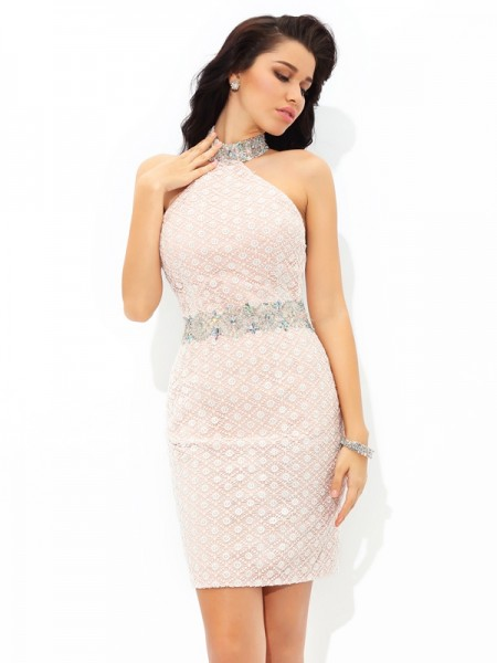 Sheath/Column Halter Beading Short Satin Cocktail Dress